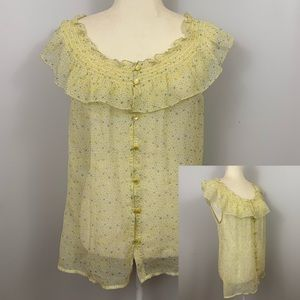 Old Navy Sheer Ruffled Pale Yellow Floral Blouse